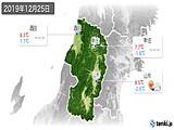 2019年12月25日の山形県の実況天気
