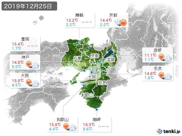 近畿地方(2019年12月25日の天気
