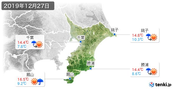 千葉県(2019年12月27日の天気