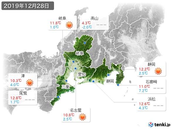 東海地方(2019年12月28日の天気