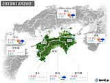 2019年12月29日の四国地方の実況天気
