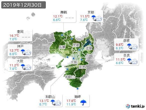 近畿地方(2019年12月30日の天気