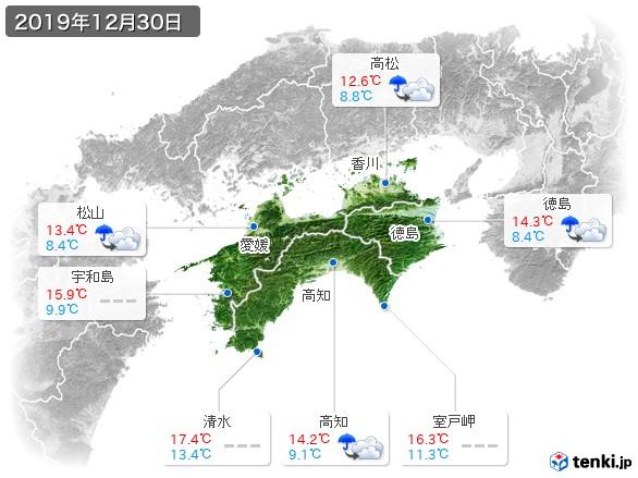 四国地方(2019年12月30日の天気