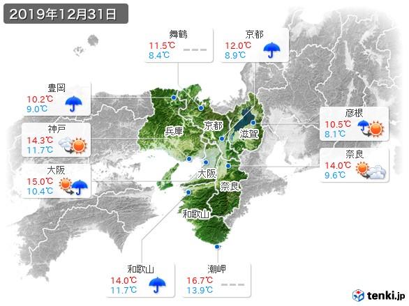 近畿地方(2019年12月31日の天気