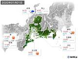 2020年01月01日の東海地方の実況天気