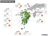 2020年01月01日の九州地方の実況天気