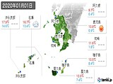 2020年01月01日の鹿児島県の実況天気
