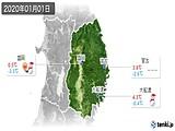 2020年01月01日の岩手県の実況天気