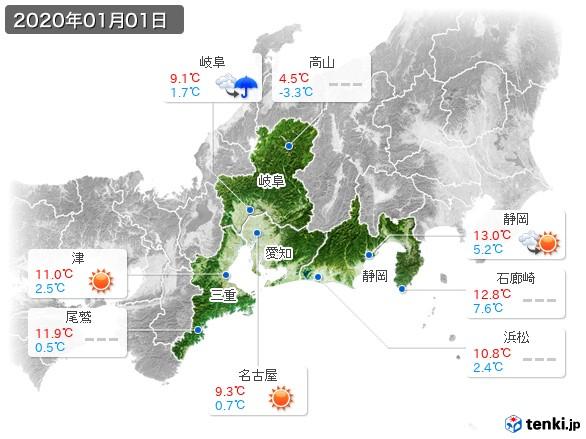 東海地方(2020年01月01日の天気