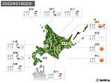 2020年01月02日の北海道地方の実況天気