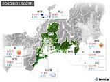 2020年01月02日の東海地方の実況天気