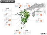 2020年01月02日の九州地方の実況天気