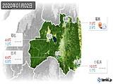 2020年01月02日の福島県の実況天気
