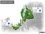 2020年01月02日の福井県の実況天気