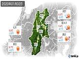 2020年01月02日の長野県の実況天気