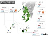 2020年01月02日の鹿児島県の実況天気