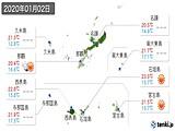2020年01月02日の沖縄県の実況天気