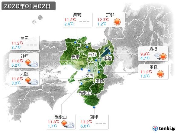近畿地方(2020年01月02日の天気