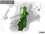 2020年01月03日の奈良県の実況天気