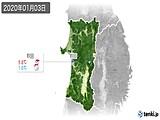 2020年01月03日の秋田県の実況天気