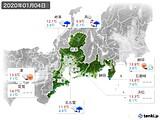 2020年01月04日の東海地方の実況天気