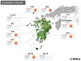 2020年01月04日の九州地方の実況天気