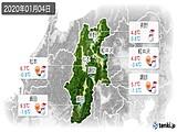 2020年01月04日の長野県の実況天気
