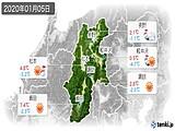 2020年01月05日の長野県の実況天気