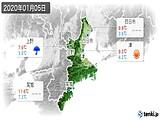 2020年01月05日の三重県の実況天気