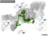 2020年01月07日の東海地方の実況天気