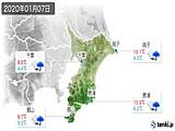 2020年01月07日の千葉県の実況天気