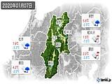 2020年01月07日の長野県の実況天気
