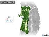 2020年01月07日の秋田県の実況天気