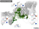 2020年01月08日の東海地方の実況天気