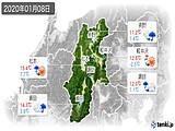 2020年01月08日の長野県の実況天気