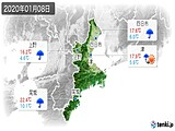 2020年01月08日の三重県の実況天気