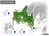 2020年01月08日の山口県の実況天気