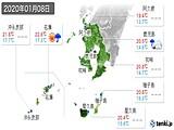 2020年01月08日の鹿児島県の実況天気