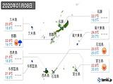 2020年01月08日の沖縄県の実況天気