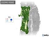 2020年01月08日の秋田県の実況天気