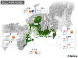 2020年01月09日の東海地方の実況天気