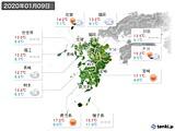 2020年01月09日の九州地方の実況天気
