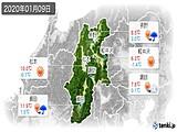 2020年01月09日の長野県の実況天気