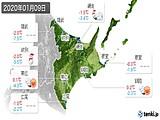 2020年01月09日の道東の実況天気