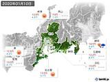 2020年01月10日の東海地方の実況天気