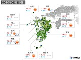 2020年01月10日の九州地方の実況天気