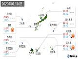 2020年01月10日の沖縄県の実況天気