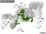 2020年01月11日の東海地方の実況天気