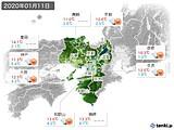 2020年01月11日の近畿地方の実況天気