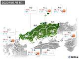 2020年01月11日の中国地方の実況天気
